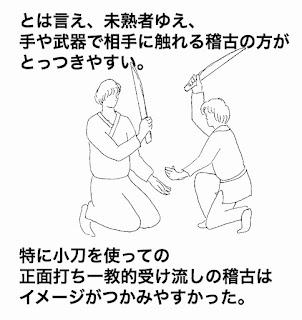 合気道の小刀を使って座技正面打ち一教で受け流しの稽古