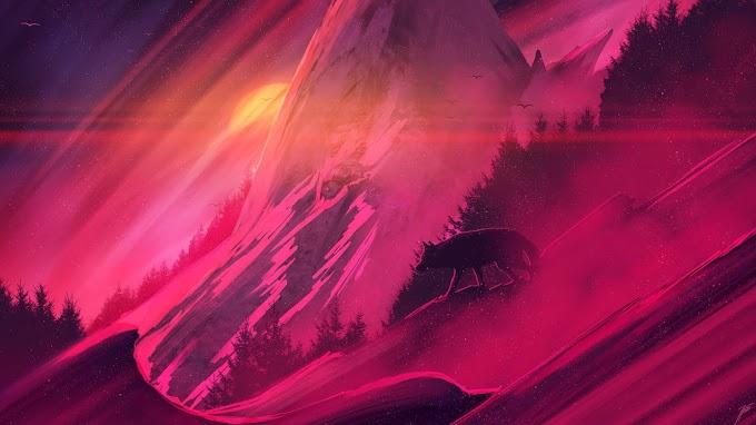 Arte Digital Por do Sol com Lobo