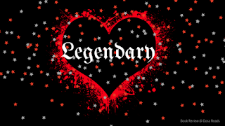 'Legendary' with black heart outlined in splattered red, covered with sprinkled stars