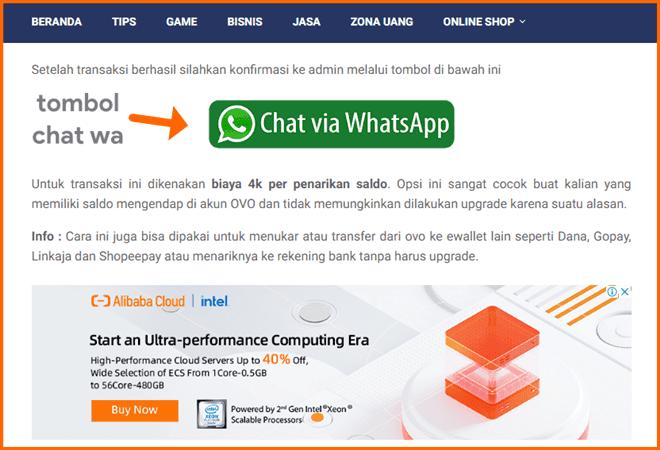 tombol chat whatsapp di denpono