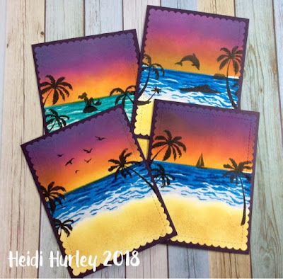 Heidi's cards feature Paradise Palms by Newton's Nook Designs; #newtonsnook