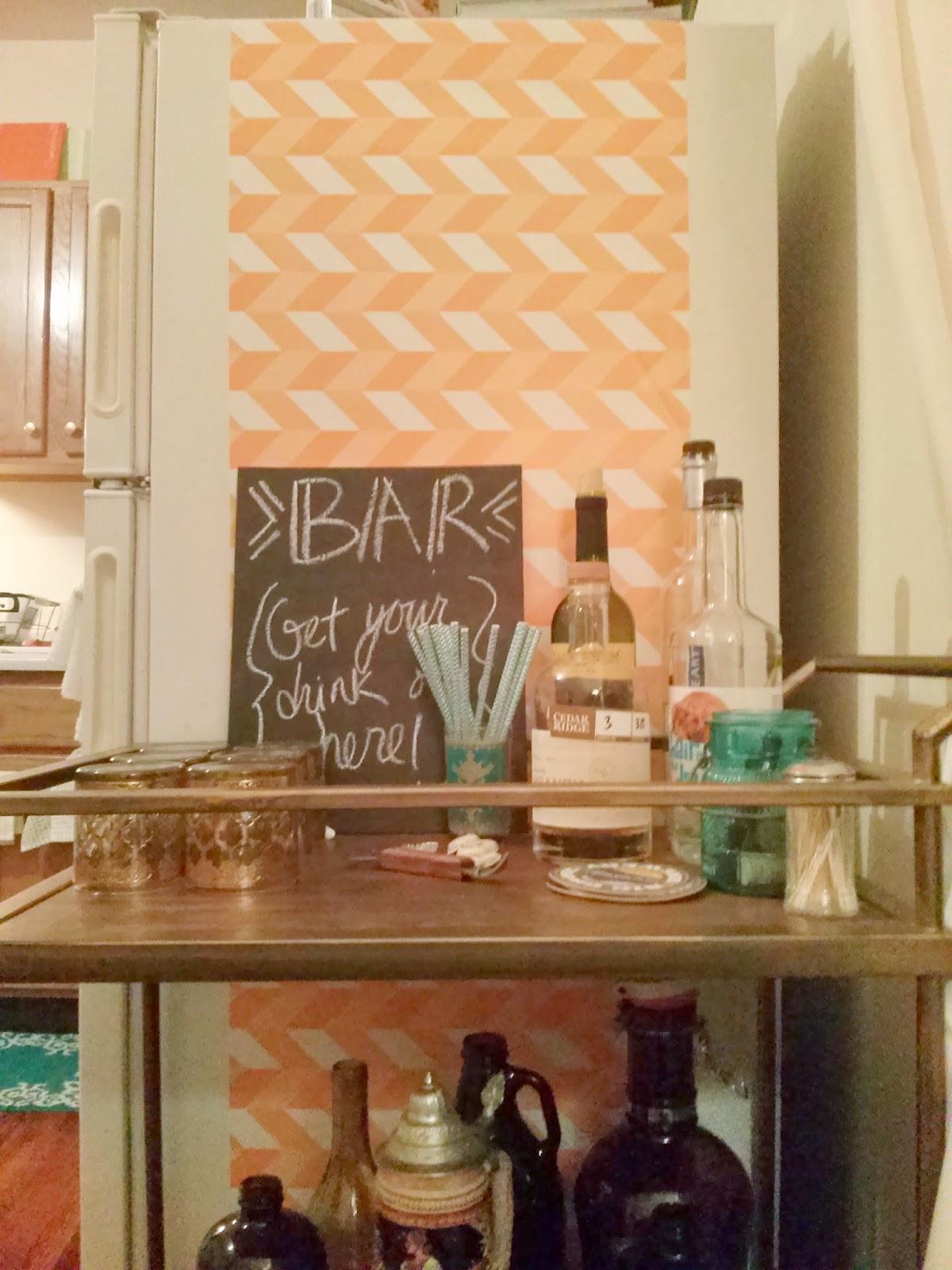 1 Mini Makeover Fridge And Bar Cart Turned Cocktail Corner