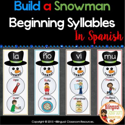 Build a Snowman Beginning Syllable Sounds In Spanish-Sílabas Iniciales