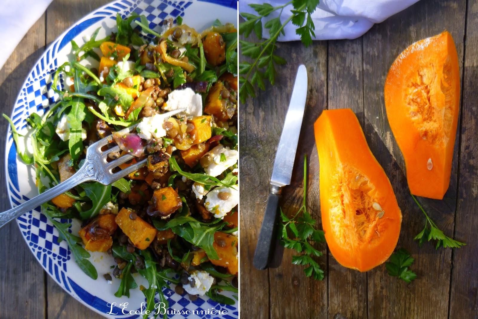 L'Ecole Buissonnière: Salade de lentilles, courge butternut et chèvre frais