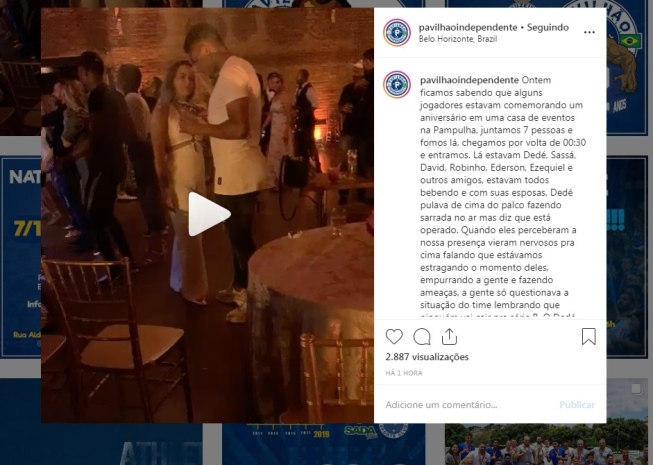 Membros de organizada invadem aniversário da esposa de Dedé para cobrar atletas do Cruzeiro