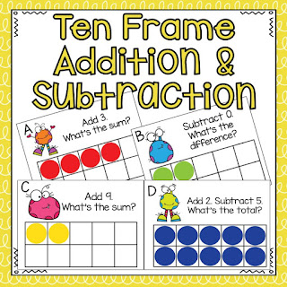 Review and practice addition and subtraction using ten frames.