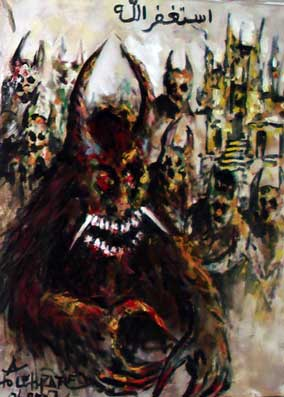 lukisan gambar setan dan hantu paling seram dan mengerikan