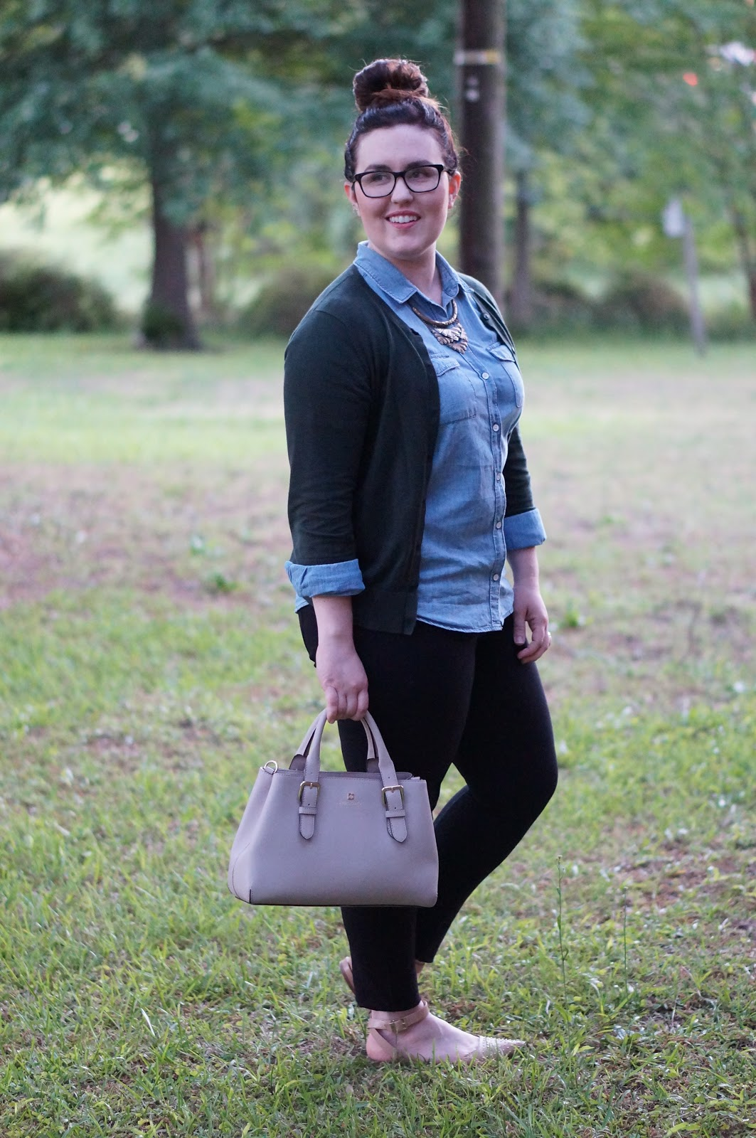 Rebecca Lately Old Navy Chambray Loft Cardigan J. Crew Pixie Pants Sam Edelman Brina Kate Spade Cove Provence