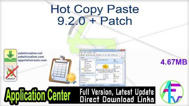 Hot Copy Paste 9.2.0 + Patch