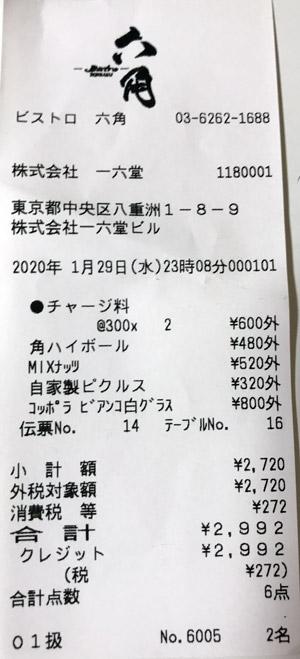 ビストロ 六角 東京駅中央口店 2020/1/29 飲食のレシート
