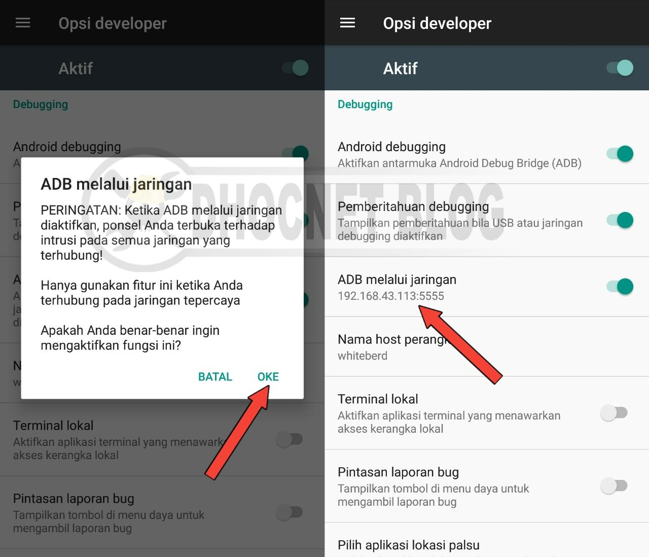 komunikasi android ke android dengan adb - blog.dhocnet.work