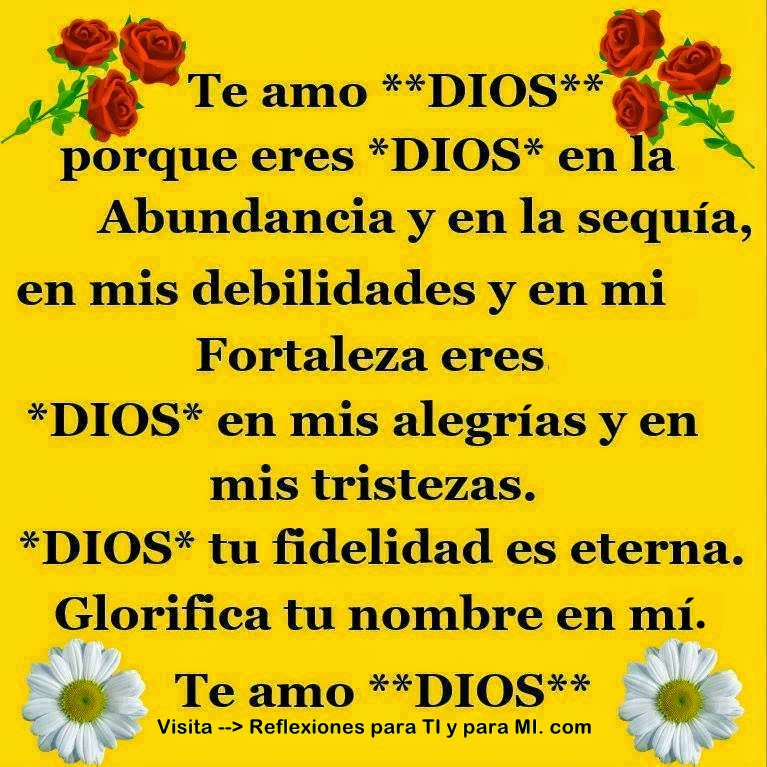 Te amo DIOS porque eres DIOS en la Abundancia y en la sequía, en mis debilidades y en mi Fortaleza, eres DIOS en mis alegrías y en mis tristezas.  DIOS, tu fidelidad es eterna. Glorifica tu nombre en mí, Te amo DIOS !