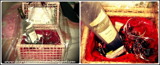 cesta vinho taças chocolates páscoa