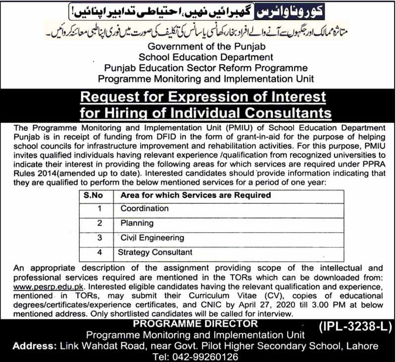 Vacancies in School Education Department Government of the Punjab