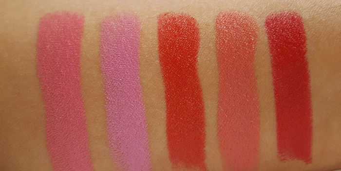 Swatches - Avon Mark - The Bold Lipstick - Review - Peony Pop - Starburst Pink - Coral Burst - Bright Nectar - Red Extreme