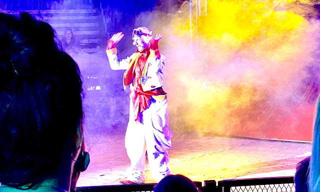 A circus clown surrounded by dry ice