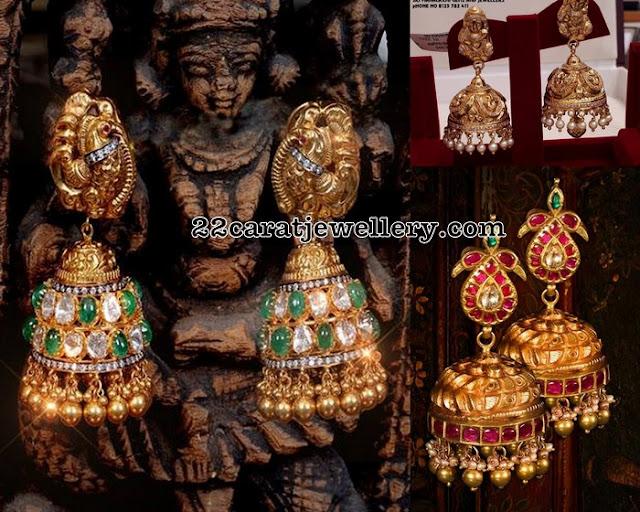 Emerald Nakshi Kundan Jhumkas