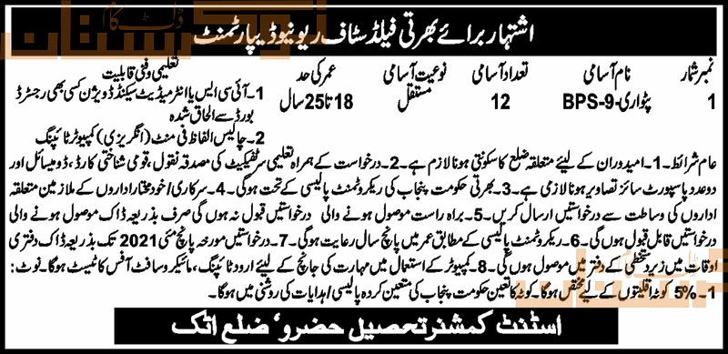 government,revenue department office of assistant commissioner hazru,patwari, field staff revenue department,latest jobs,last date,requirements,application form,how to apply, jobs 2021,