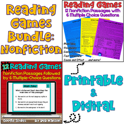 These reading games are perfect for test prep! This set includes 12 nonfiction passages. After reading each passage, students answer 6 multiple choice questions. Reading skills include main idea, context clues, text structures, cause and effect, affixes, and more!