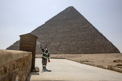 Sensitizing the guards booth in front of the Great Pyramid of Giza
