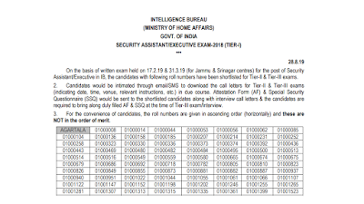 IB Security Assistant 2018 Official Result Declared Download PDF