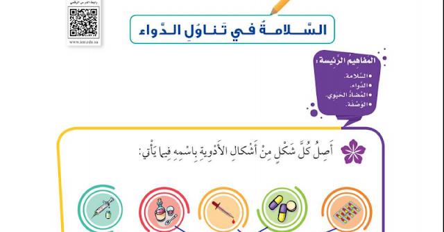 حل درس السلامة في تناول الدواء التربية الأسرية للصف الثالث ابتدائي