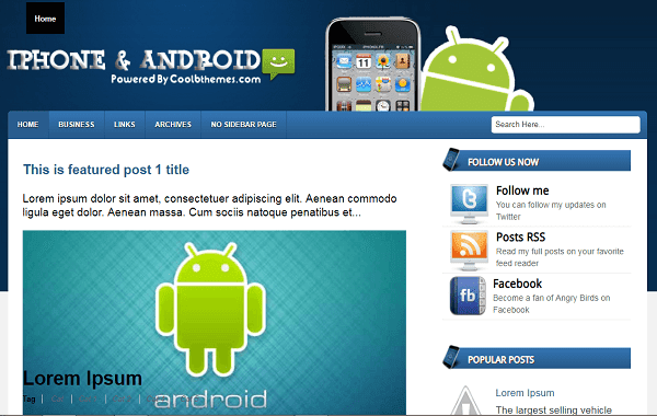Iphone and android blogger template