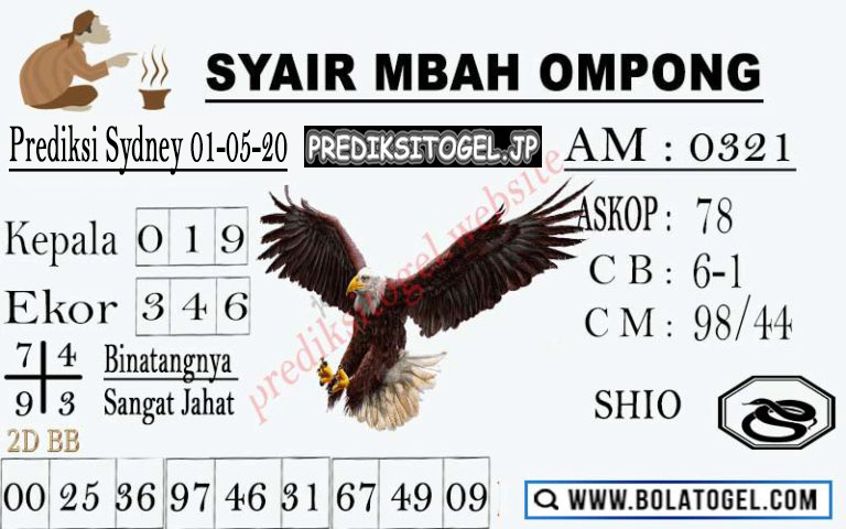 Prediksi Sydney 01 Mei 2020 - Syair Mbah Ompong Sydney