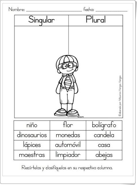 """""""Singular y plural"""" (Ficha de Lengua Española de Primaria)"""