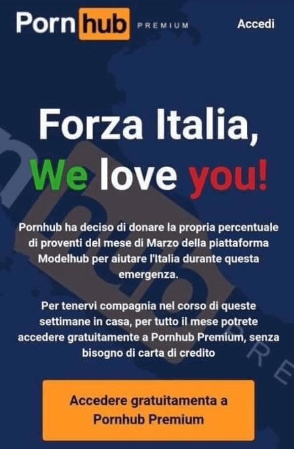 Pornhub Free in Italy