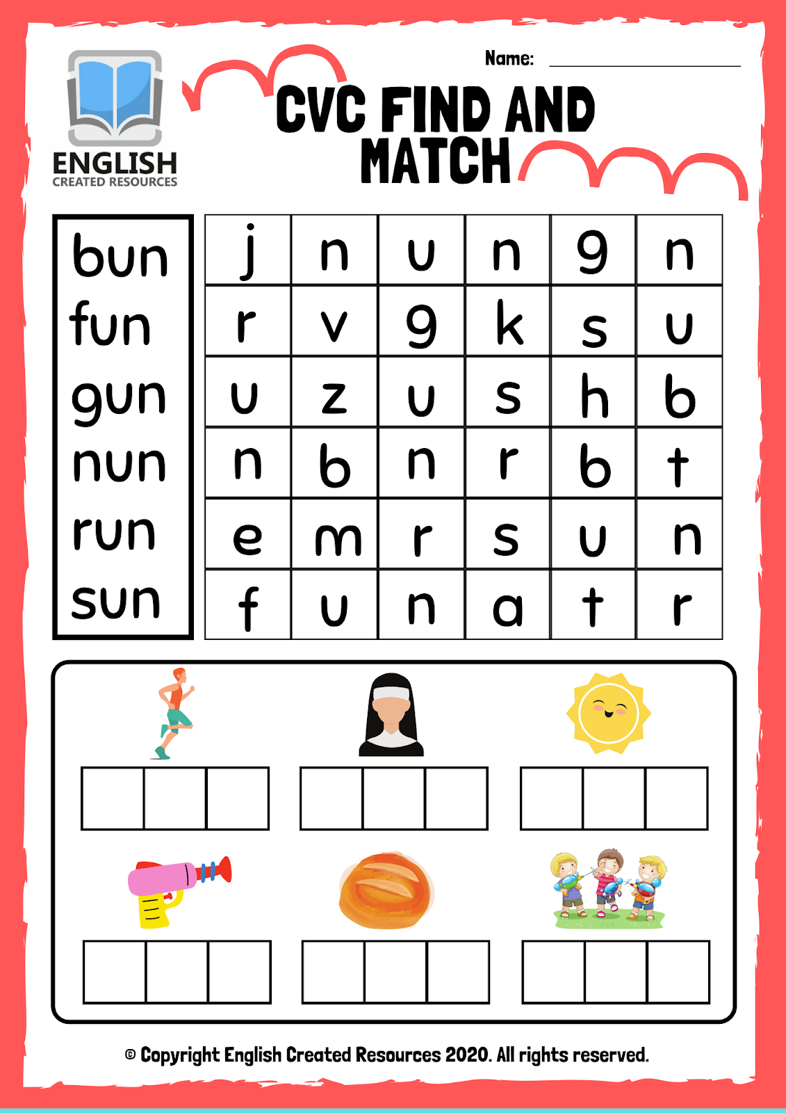 Cvc Words Find And Match Worksheets