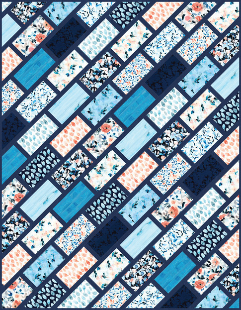 Cobblestone Street Quilt designed quilted by Elise Lea for Robert Kaufman