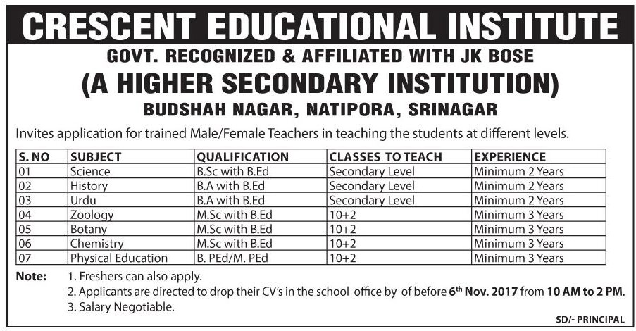 Crescent Educational Institute has teaching job vacancies