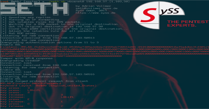 Seth : Perform A MitM Attack & Extract Clear Text Credentials From RDP Connections