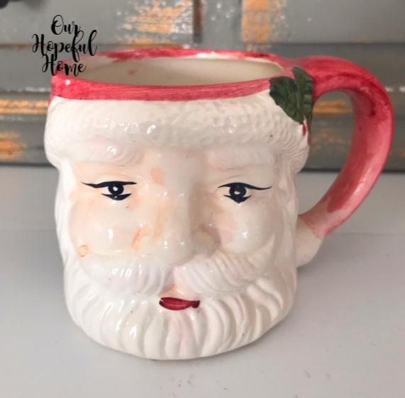 vintage Santa mug hot cocoa retro Christmas decor