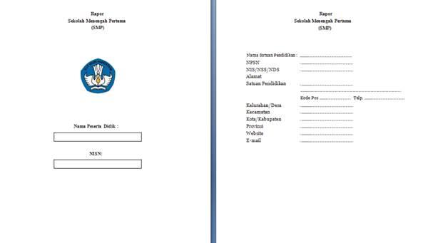 format rapor terbaru untuk smp sesuai k13 revisi 2017