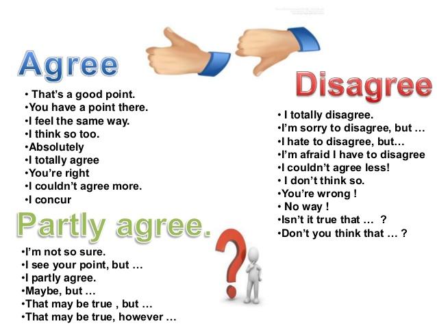 Resultado de imagen de expressions for agree disagree