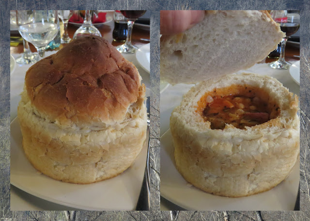 Romanian soup in a breadbowl