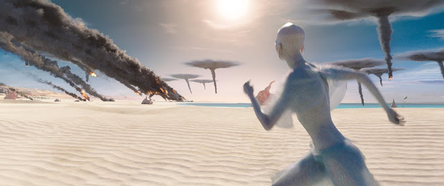 Recreación futurista de la película de ciencia ficción Valerian y la ciudad de los mil planetas