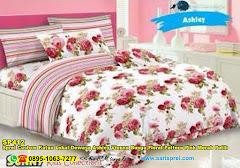 Sprei Custom Katun Lokal Dewasa Ashley Vienna Bunga Floral Pattern Pink Merah Putih