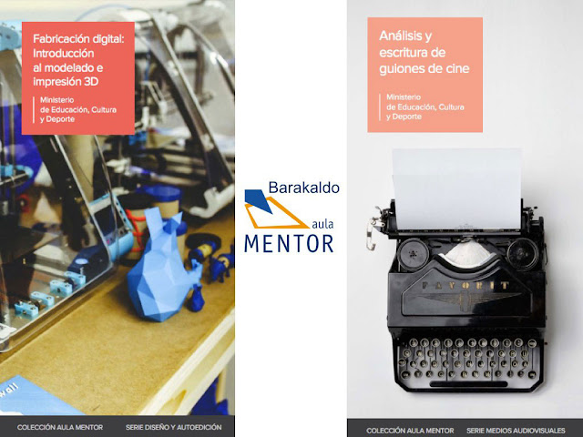 Imagen de los folletos de los cursos de guion y de impresión 3D en Aula Mentor