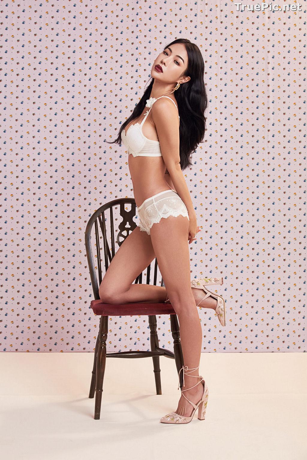 Image Korean Fashion Model - An Seo Rin - White Lingerie and Sleepwear Set - TruePic.net - Picture-9