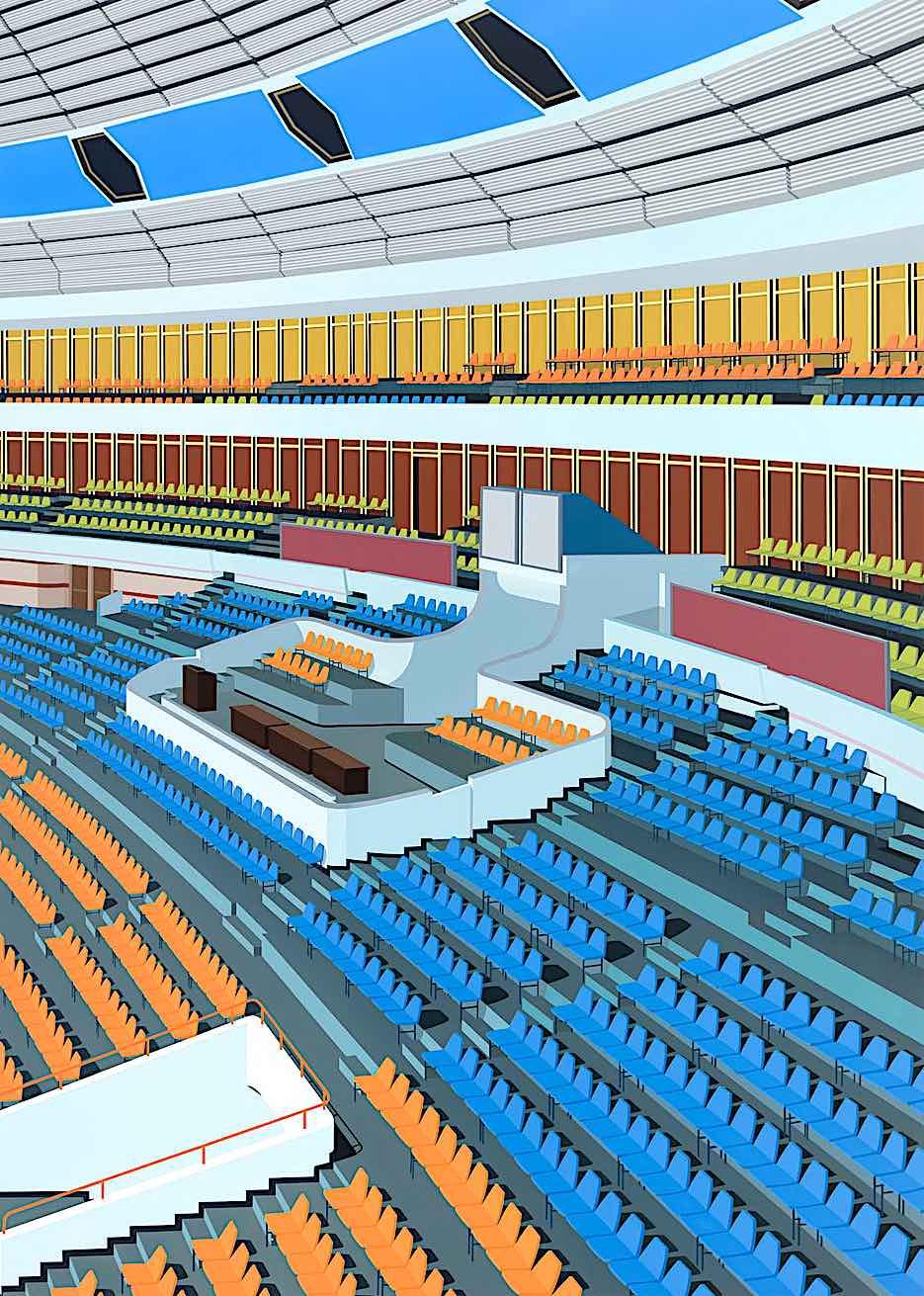Daniel Rich digital art of a sports stadium in orange and blue