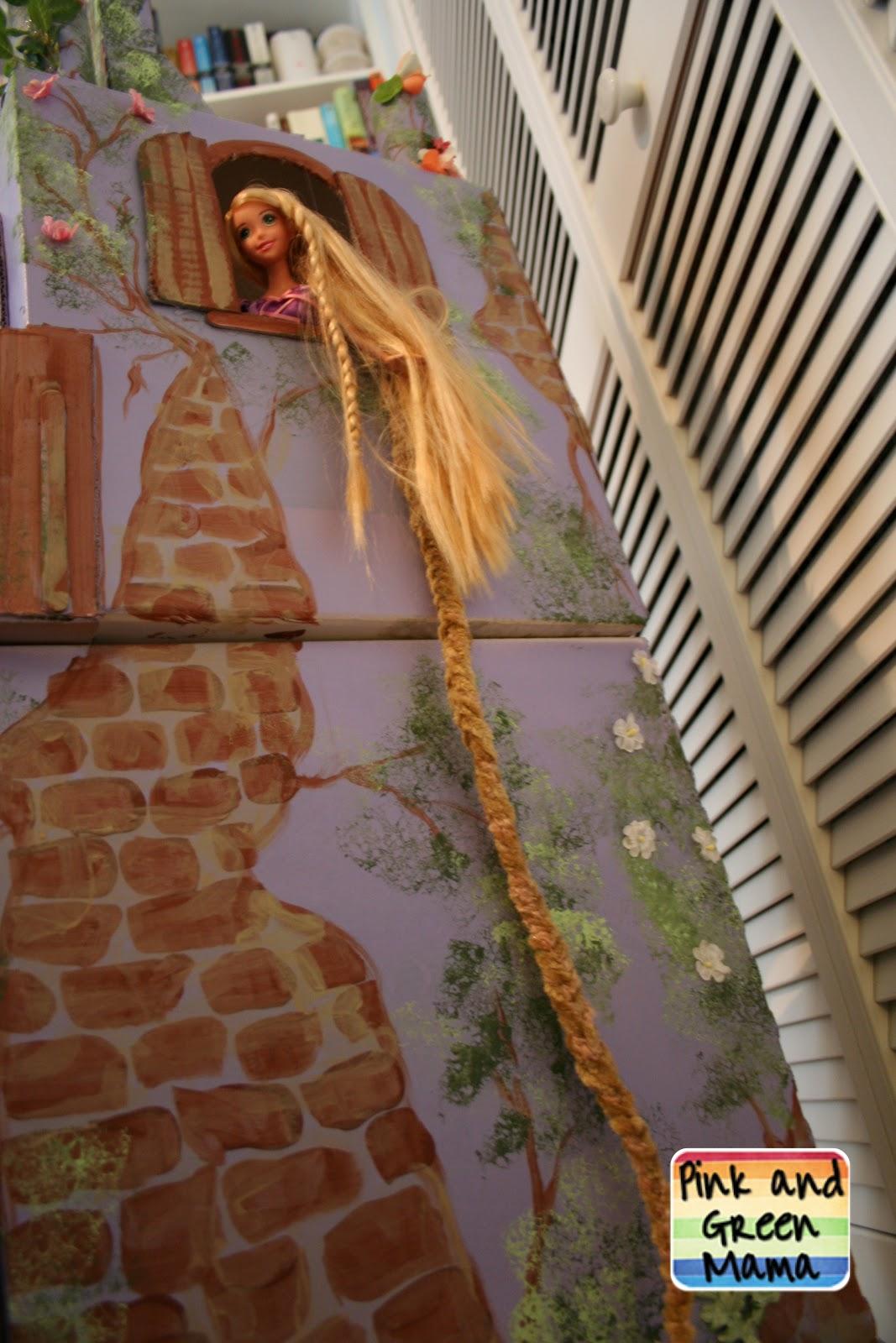 Pink and Green Mama  Cardboard Rapunzel Castle Homemade