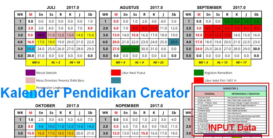Kalender Pendidikan Tahun 2016-2017 Bisa Dibuat dengan Aplikasi Excel