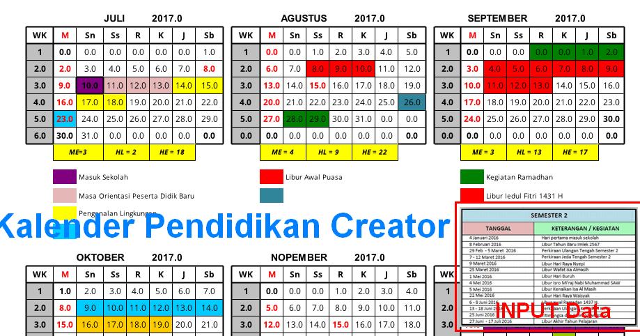 Kalender Pendidikan Tahun 2016 2017 Bisa Dibuat Dengan Aplikasi Excel Operator Sekolah