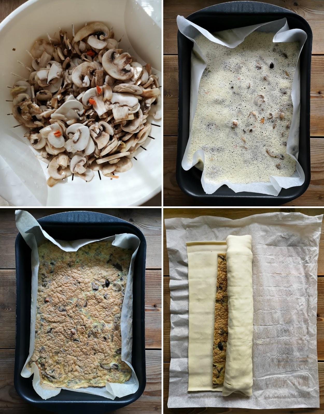 rotolo di sfoglia con funghi castagne e formaggio
