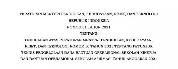 Permendikbudristek Nomor 31 Tahun 2021