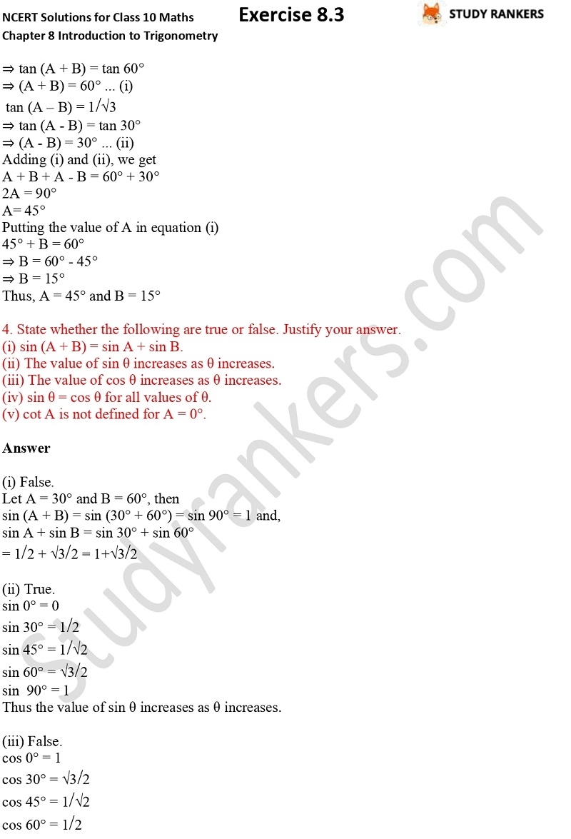 NCERT Solutions for Class 10 Maths Chapter 8 Introduction To Trigonometry Exercise 8.2 Part 3
