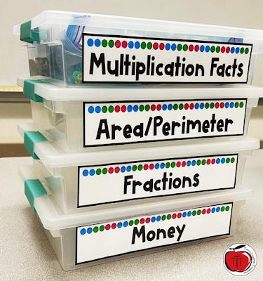 Third Grade math centers in storage bins